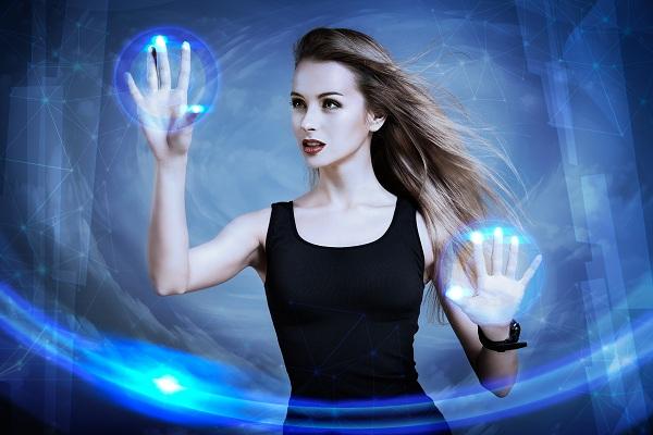 Woman Using Virtual Screen